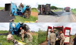 Caminhões batem, homem é arremessado e motorista fica preso às ferragens em rodovia de MS