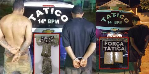 Em noite agitada pelo tráfico de drogas, Força Tática prende 1 em Glória de Dourados e 2 em Fátima do Sul