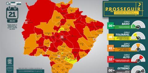 Fátima do Sul entra na bandeira laranja pelo Prosseguir, com grau médio de risco para Covid