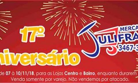 Mercado Julifran comemora seu 17ª aniversário com grandes ofertas em Fátima do Sul.