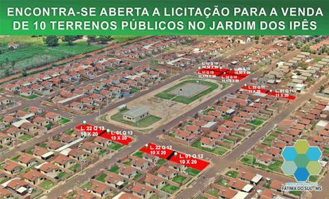 Prefeitura de Fátima do Sul abre licitação para venda de terrenos públicos no Jardim dos Ipês