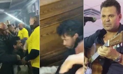 """Barraco: Eduardo Costa pede para seguranças darem uns """"tapas"""" em fã bêbado"""