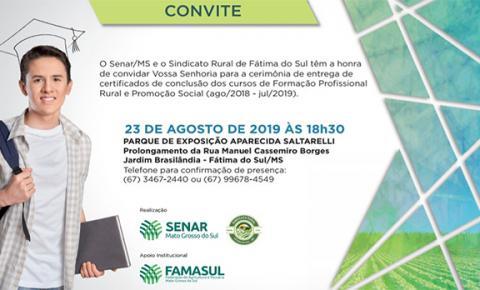Sindicato Rural entregará certificados nesta sexta, dia 23, à concluintes de qualificações profissionais em Fátima do Sul