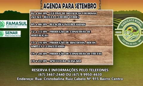Sindicato Rural de Fátima do Sul e Senar/MS divulga calendário de cursos para o mês de setembro