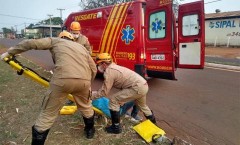 Office Boy fica ferido ao sofrer queda de bicicleta na Avenida 09 de Julho em Fátima do Sul