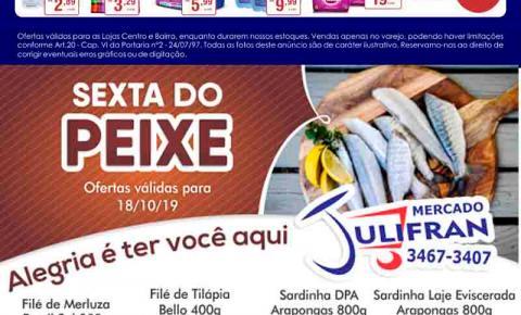 Confira as ofertas da semana e da Sexta do Peixe do Mercado Julifran de Fátima do Sul