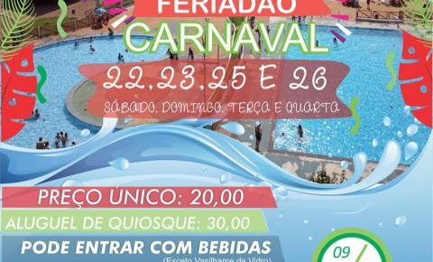 Aqua Park de Fátima do Sul terá quatro dias de programação especial de carnaval