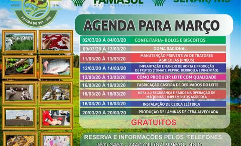 Sindicato Rural de Fátima do Sul e Senar/MS divulga calendário de cursos para o mês de março