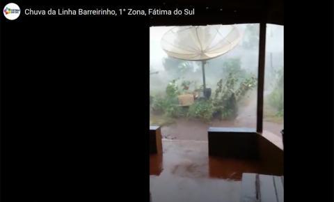 VÍDEO: Moradores registram vento forte, granizo e chuva de 125 milímetros em Fátima do Sul