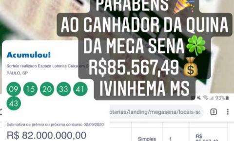 Apostador de Ivinhema acerta quina da mega-sena e leva mais de R$ 85 mil