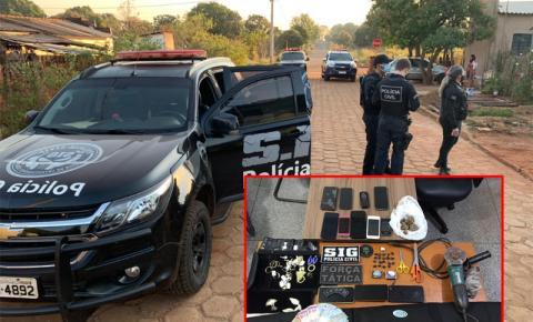 Policiais apreendem drogas durante cumprimento a mandados de busca e apreensão em Fátima do Sul