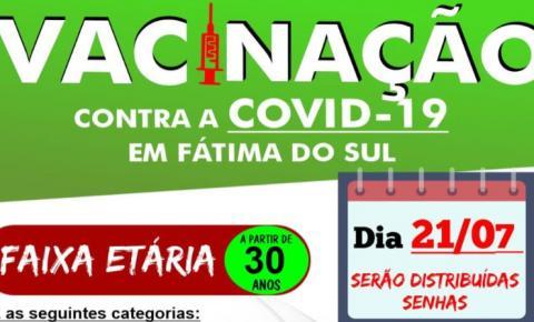 Fátima do Sul começa a vacinar pessoas com 30 anos contra a Covid-19
