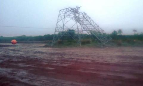 Vendaval faz duas torres de transmissão caírem no mesmo dia em Itaquiraí