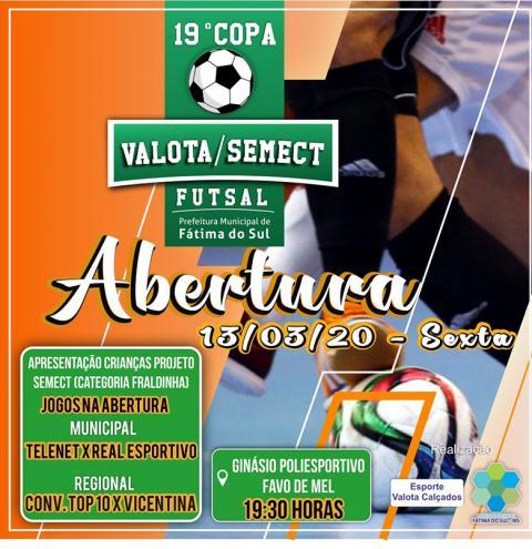 Prefeitura de Fátima do Sul abre na sexta-feira a 19ª edição da Copa Valota/SEMECT de Futsal